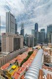 Singapore finansiellt område som sett från kineskvarter Royaltyfri Fotografi