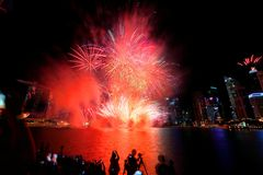 Singapore : Fireworks by the bay Stock Photography