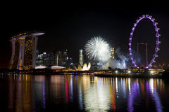 Singapore Fireworks Royalty Free Stock Photography