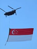 Singapore Flag. A fly-pass of a giant Singapore Flag on Singapore's 46th National Day (9th August 2011 Stock Images