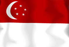 Singapore Flag. Flag of Singapore waving in the wind Vector Illustration