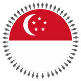 Singapore flag with circle of people Royalty Free Stock Photos