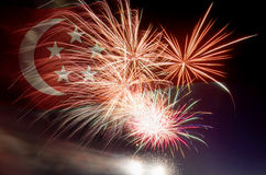 Singapore Flag with Fireworks Stock Photos