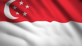 Singapore flag Motion video waving in wind. Flag Closeup 1080p HD  footage vector illustration