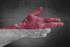 Singapore flag painted on male hand like a gun royalty free stock photo