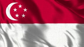 Singapore Flag - Realistic 4K - 30 fps flag of the Singapore waving in the wind. stock illustration