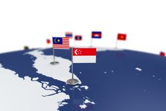 Singapore flag. Country flag with chrome flagpole on the world map with neighbors countries borders. 3d illustration rendering flag Stock Photos