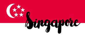 Singapore Flag with text. Vector vector illustration