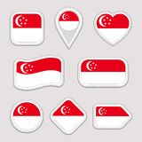 Singapore flag vector set. Singaporean national flags stickers collection. Vector isolated geometric icons. Web, sports pages, pat royalty free illustration