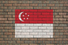 Singapore flag on wall Royalty Free Stock Images