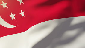 Singapore flag waving in the wind. Looping sun stock illustration