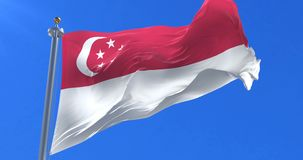 Singapore flag waving at wind in slow with blue sky, loop royalty free illustration