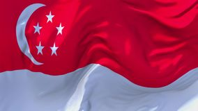 Singapore Flag Waving in Wind Continuous Seamless Loop Background. stock illustration