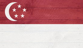 Singapore - flag on wood boards with nails Royalty Free Stock Photos