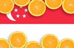 Singapore flagga i citrusfruktskivahorisontalram fotografering för bildbyråer