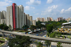Singapore flats and LRT track Stock Photos