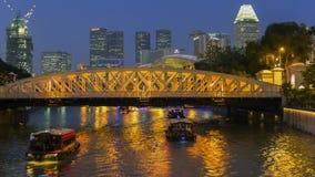 Singapore flod och Anderson Bridge Royaltyfria Foton
