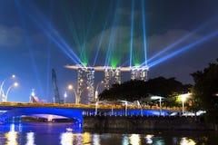 Singapore flod på natten. Royaltyfri Fotografi