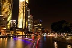 Singapore flodnatt Royaltyfri Fotografi