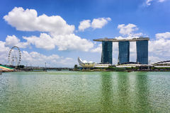 Singapore Flyer and Artscience museum and Marina Bay Sands Hotel Stock Image