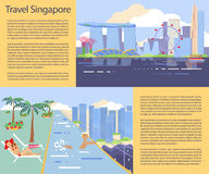 Singapore flyer big city. For travelers. Travel, tourism, hotel service background. Modern flat horizontal banners set. Travelling illustration. Place for your Royalty Free Stock Photos