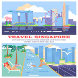 Singapore flyer city and hotel. Service for travelers. Travel and tourism background. Modern flat horizontal banners set. Travelling illustration. Vector eps10 Stock Images