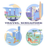 Singapore flyer city. And hotel service for travelers. Travel and tourism background. Modern flat horizontal banners set. Travelling illustration. Vector eps10 Royalty Free Stock Photography