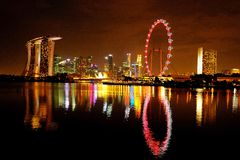 The Singapore Flyer and Cityscape Stock Photos