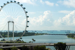 Singapore flyer and cityscape Royalty Free Stock Image
