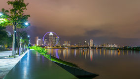 Singapore flyer ferriswheel. The beautiful place near  marina bay sand Singapore Royalty Free Stock Images