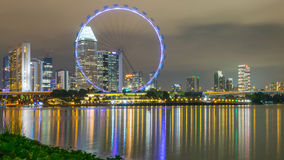 Singapore flyer ferriswheel. The beautiful place near  marina bay sand Singapore Royalty Free Stock Image