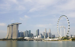 Singapore Flyer and Marina Bay Stock Images