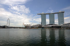Singapore Flyer and Marina Bay Sands. stock images