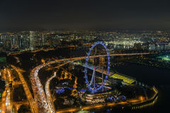 Singapore Flyer. From Marina Bay Sands Resort royalty free stock photography