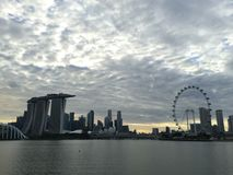 Singapore Flyer Marina Bay Sands Skyline Stock Photography