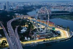 Singapore Flyer & Marina Bay Street Circuit Royalty Free Stock Photography