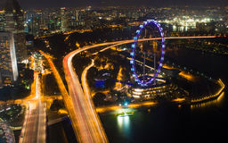 Singapore flyer at night Royalty Free Stock Photos
