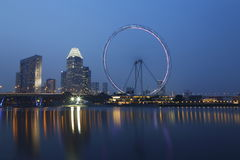 Singapore Flyer at Night Stock Photo