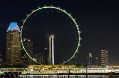 Singapore Flyer At Night Stock Photography