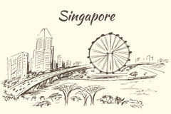 The Singapore Flyer - Singapore. The Singapore Flyer - giant Ferris wheel in Singapore.   on white background Royalty Free Stock Images