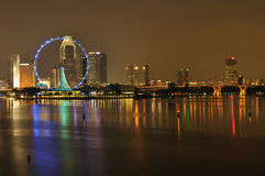 Singapore flyer and skyline Royalty Free Stock Image