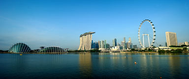 Singapore Flyer and Skyline of Singapore stock photo