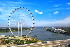 Singapore Ferris Wheel. Singapore Flyer on sunny day - the Largest Ferris Wheel in the World royalty free stock images