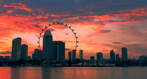 Sunset singapore skyline. Singapore city in the sunset, afterglow in the sky Royalty Free Stock Photography