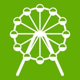 Singapore Flyer, tallest wheel in the world icon green. Singapore Flyer, tallest wheel in the world icon white isolated on green background. Vector illustration Royalty Free Stock Photo