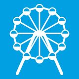 Singapore Flyer, tallest wheel in the world icon. White isolated on blue background vector illustration Royalty Free Stock Images