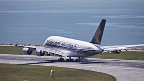 Singapore flygbolag A380 Fotografering för Bildbyråer