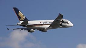 Singapore flygbolag A380 Royaltyfri Fotografi