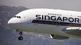 Singapore flygbolag A380 Arkivbild