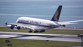 Singapore flygbolag A380 Arkivfoton